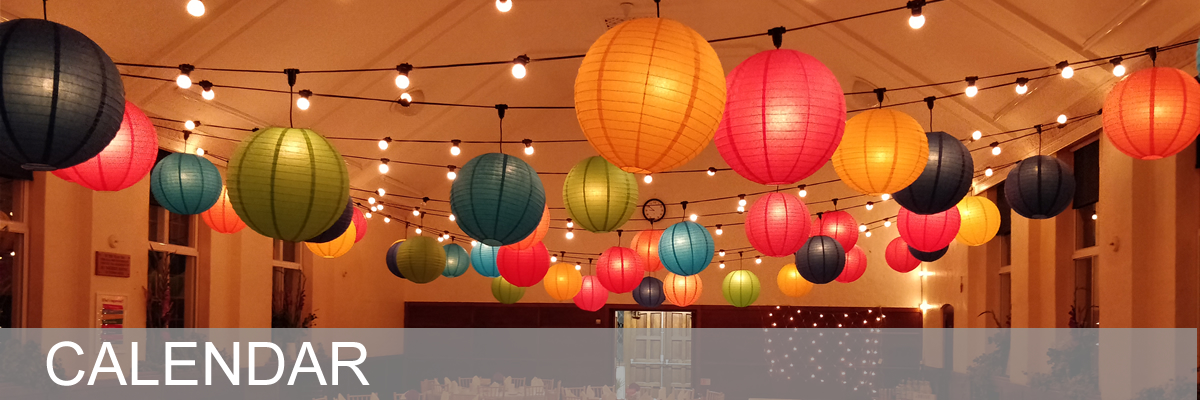 Picture of the hall decorated with lanterns